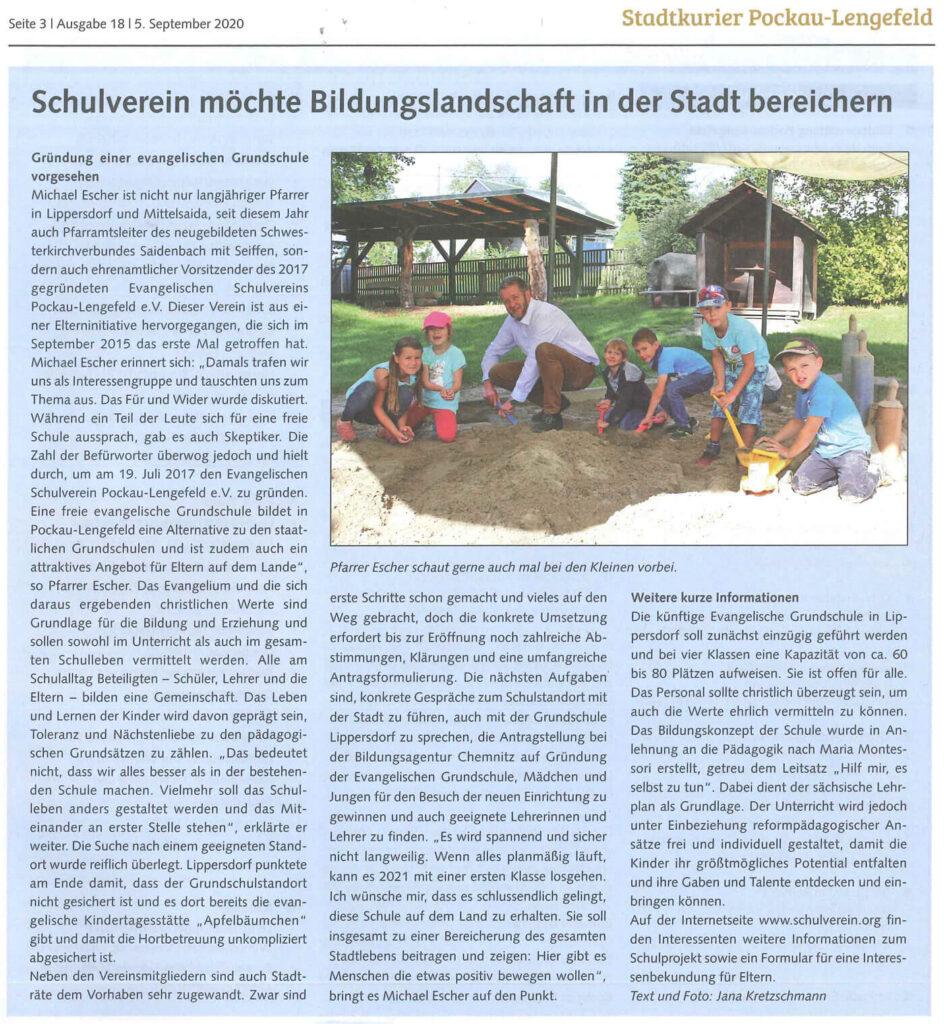 Artikel im Stadtkurier Pockau-Lengefeld